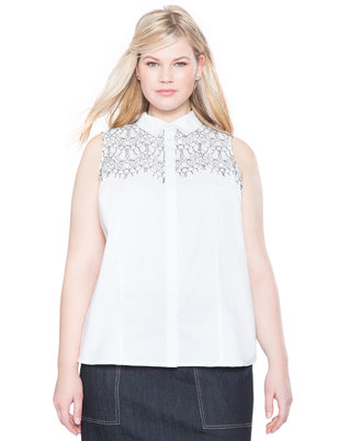 Corded Lace Button Up Top