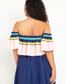 Colorful Off the Shoulder Top Summer Stripe