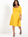 3/4 Sleeve Fit and Flare Dress Fresia