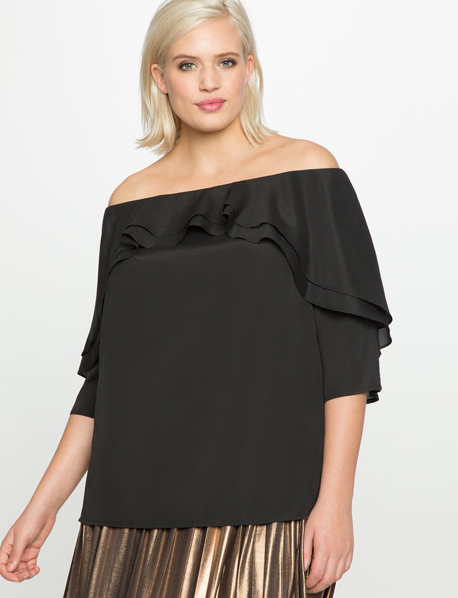 Studio Off the Shoulder Layered Ruffle Top