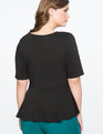Elbow Sleeve Peplum Top Black