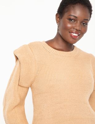 Folded Shoulder Ribbed Sweater