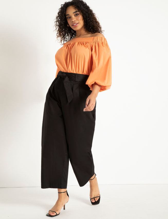 Wide Leg Crop Pant with Tie