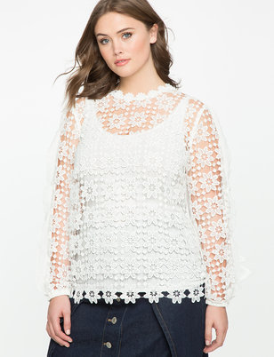Studio Ruffle Sleeve Lace Blouse