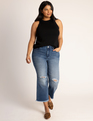Distressed Cropped Flare Jean Medium Wash