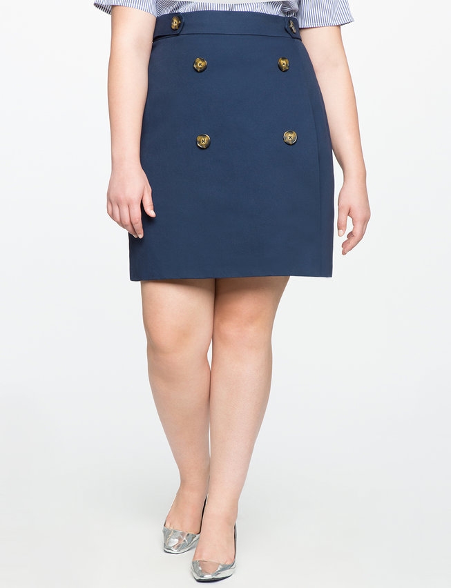 Button Detail A-line Skirt