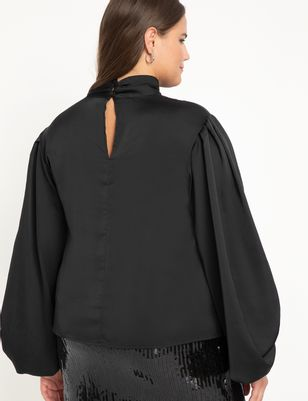 Poet Sleeve Blouse With High Neck