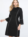 Flare Sleeve A-Line Dress Black
