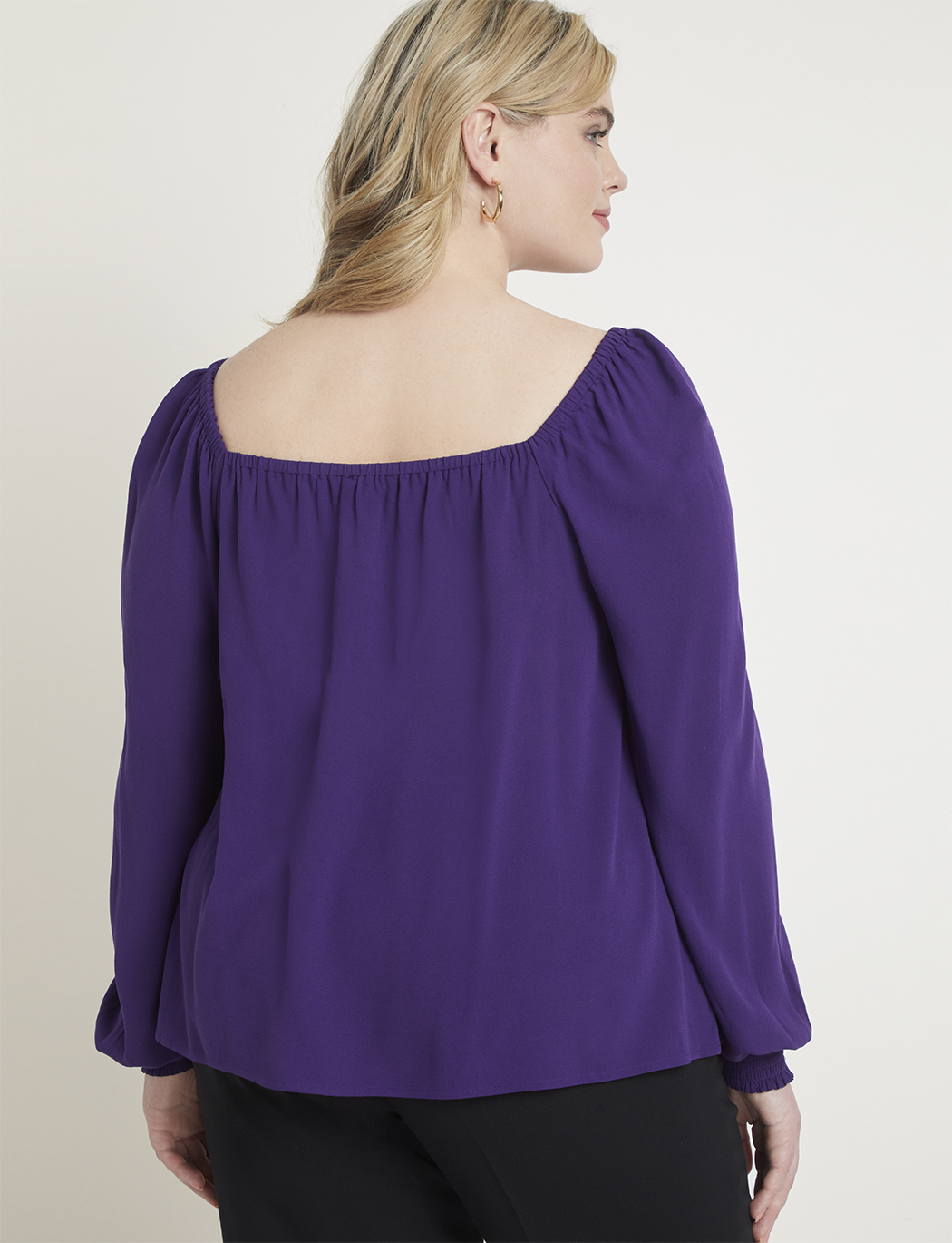 Square Neck Top with Smocked Cuff