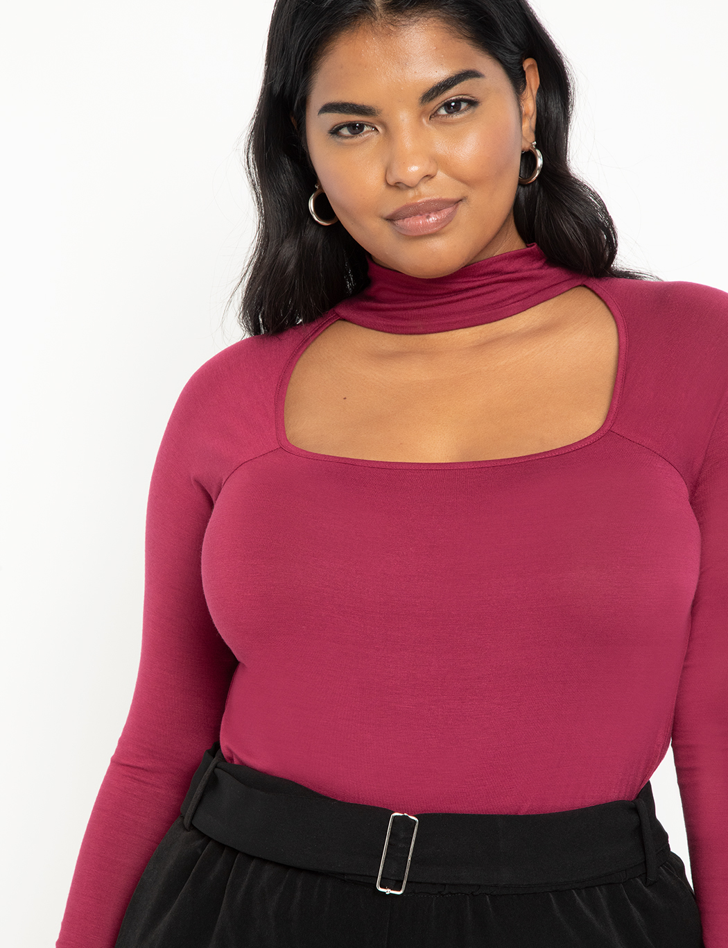 Scoop Neck Top with Collar