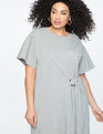 Tie Waist Flared Sleeve Tee Dress Heather Grey