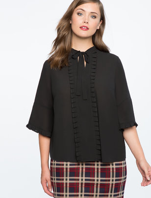 Pleat Detail Bow Blouse