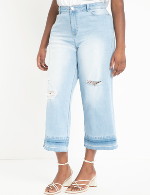 Wide Leg Crop Jean with Release Hem