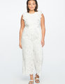 Teresa for ELOQUII Sangallo Eyelet Ruffle Jumpsuit Soft White