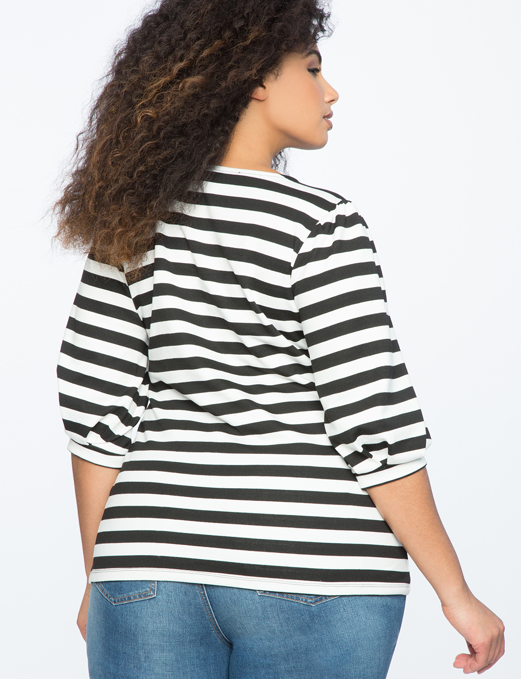 Striped Puff Sleeve Top