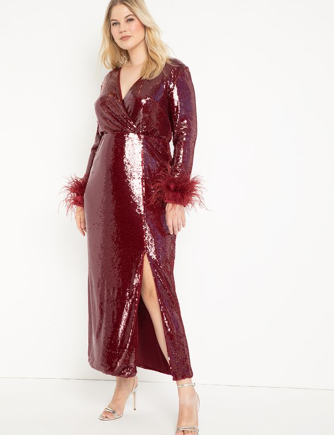 Long Sequin Wrap Dress With Feather Cuff
