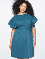 Flutter Sleeve Belted Easy Dress MOROCCAN BLUE