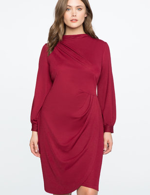 Drape Front Mock Neck Dress