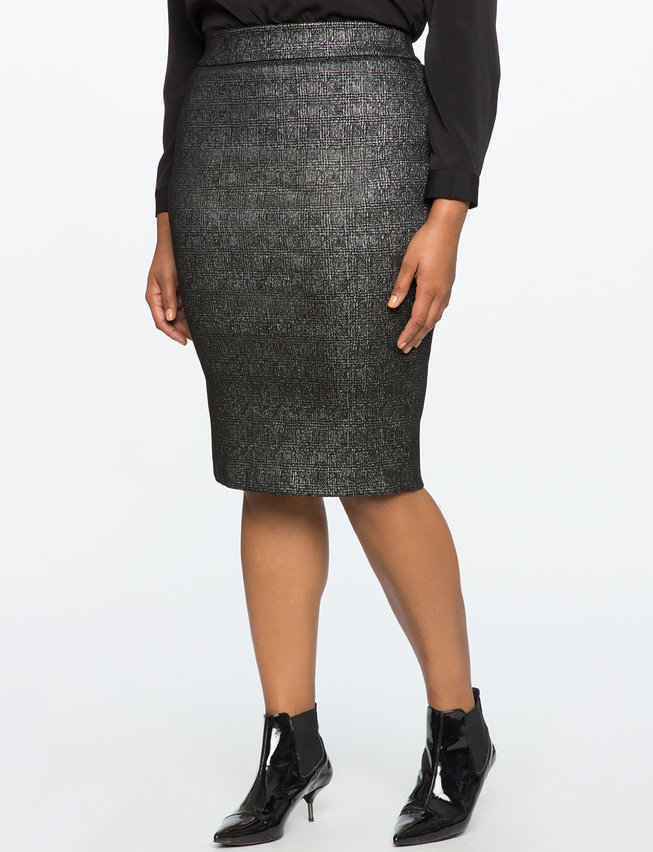 Metallic Pull-On Pencil Skirt