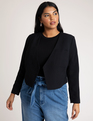 Cropped Woven Blazer Totally Black