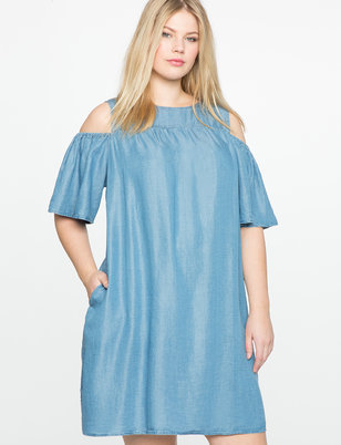 Cold Shoulder Chambray Dress