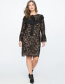 Lace Sheath Dress with Oversized Bow BLACK / NUDE