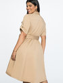 Fit and Flare Dress with Draped Skirt CARAMEL