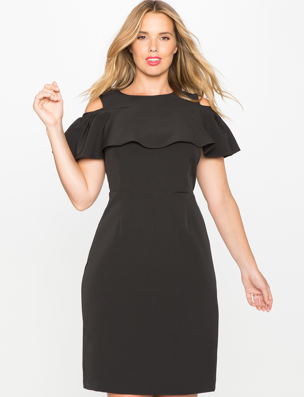 Cold Shoulder Dress with Ruffle | Women\'s Plus Size Dresses | ELOQUII