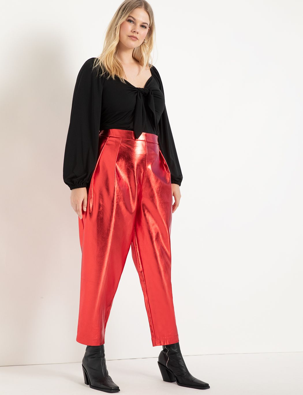 Metallic Faux Leather Pleated Pant