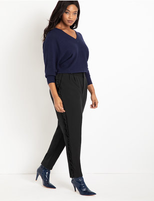 Slim Pant with Side Ruffle Detail