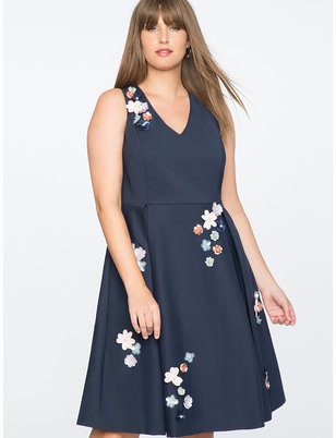 Draper James for ELOQUII Floral Embellished Fit and Flare Dress