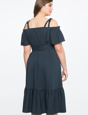 Off the Shoulder Flounce Hem Dress