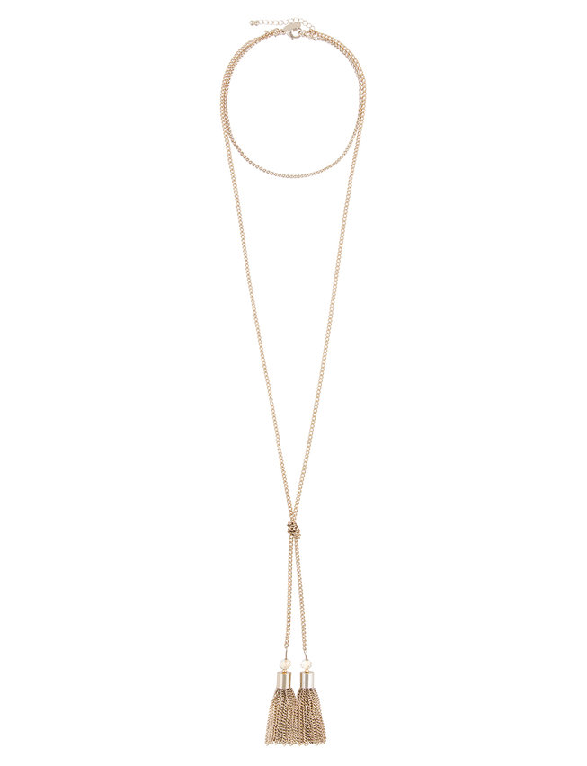 Convertible Long Chain Necklace with Tassels