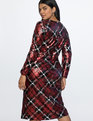 Plaid Sequin Wrap Dress Red and Black Plaid