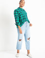 One Shoulder Top Navy / Emerald Check