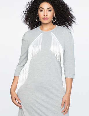 Fringe Detail Shift Dress