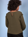 ELOQUII Elements Ruffle Detail Blouse Olive