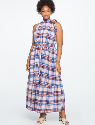 Maxi Dress with Bow Neck