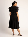Puff Sleeve Midi Dress Black