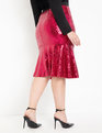 Sequin Trumpet Midi Skirt Hot Pink