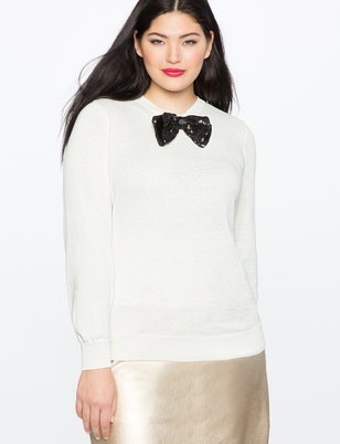 Ruffle Shoulder Sweater with Bow
