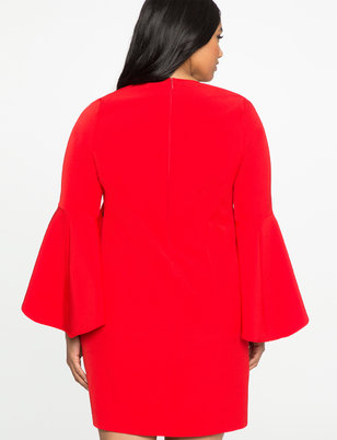 Flounce Sleeve Shift Dress