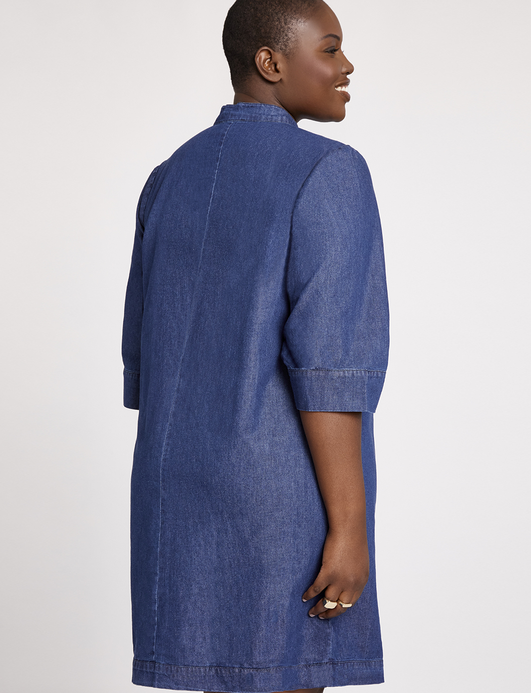 Denim Dress with Tie Neck