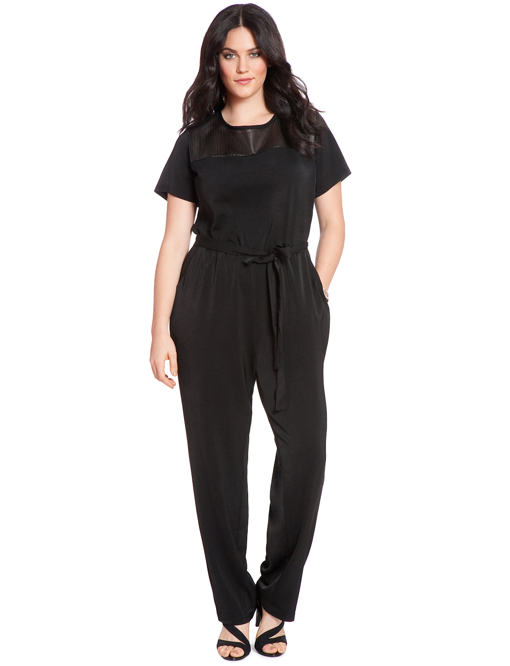 fe57289d31ee3 Perforated Faux Leather Jumpsuit