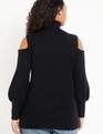Cold Shoulder Turtleneck Sweater Totally Black