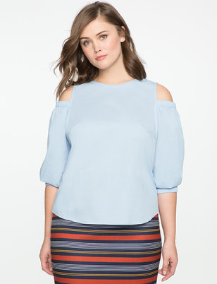 Cold Shoulder Puff Sleeve Top