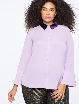 Pearl Button Blouse with Velvet Collar