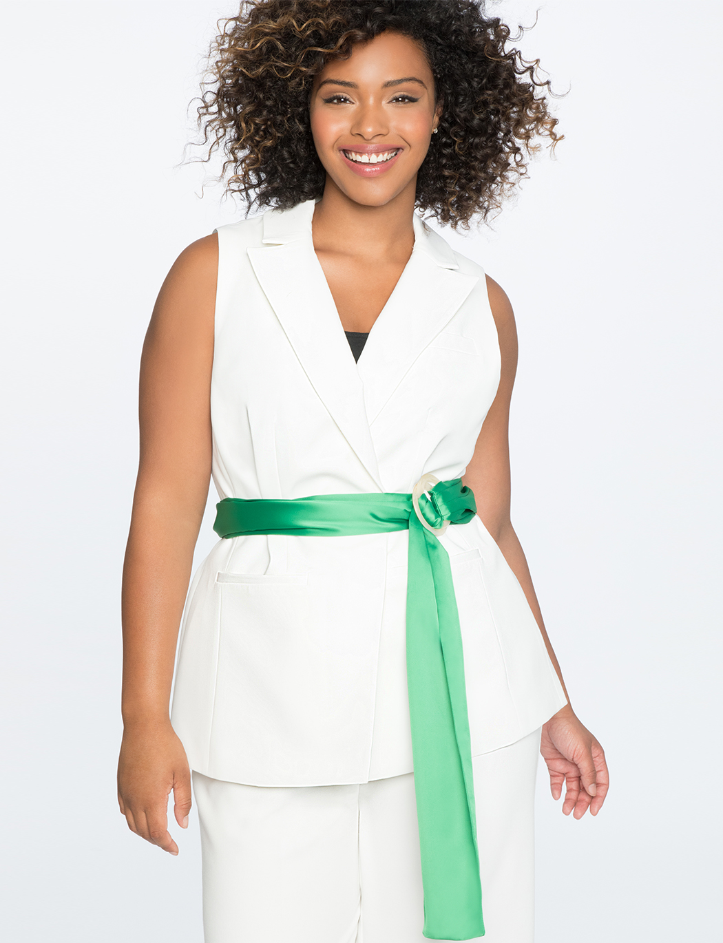Sleeveless Jacket with Contrast Belt