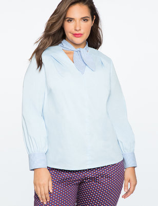 V-Neck Bow Blouse