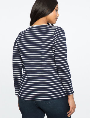 Striped Cutout Button Detail Top